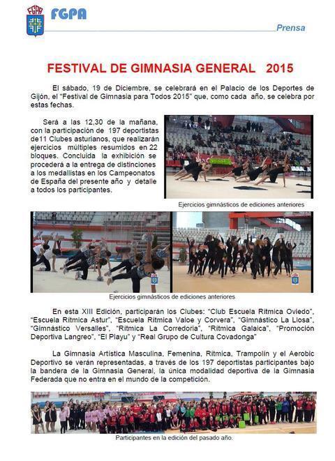Gimnastur - FESTIVAL DE GIMNASIA PARA TODOS 2015 - Federación de Gimnasia del Principado de Asturias