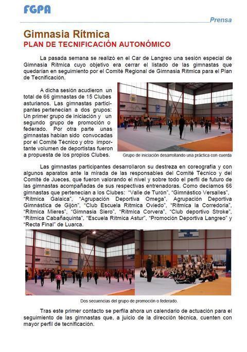 Gimnastur - PLAN DE TECNIFICACIÓN AUTONÓMICO FGPA - Federación de Gimnasia del Principado de Asturias