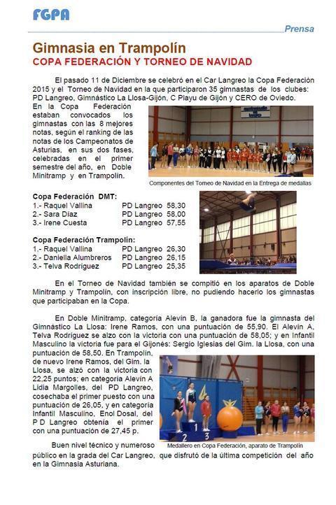 Gimnastur - COPA FEDERACION Y TORNEO NAVIDAD 2015 - Federación de Gimnasia del Principado de Asturias