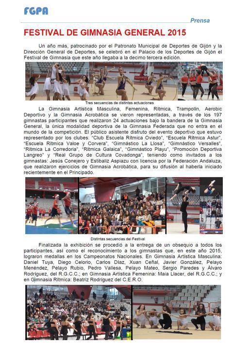 Gimnastur - CELEBRADO EL XIII FESTIVAL DE GIMNASIA PARA TODOS 2015 - Federación de Gimnasia del Principado de Asturias