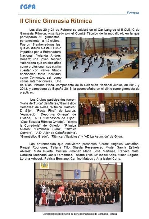 Gimnastur - II CLINIC PERFECCIONAMIENTO TÉCNICO GR - Federación de Gimnasia del Principado de Asturias
