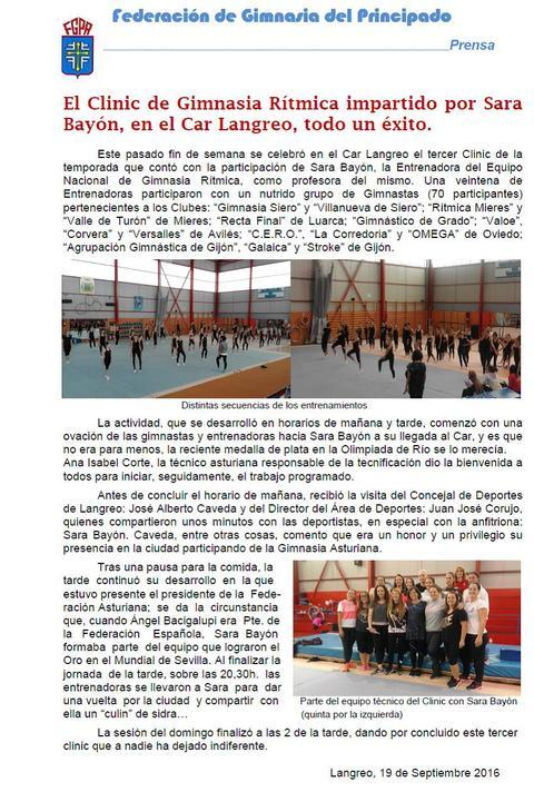 Gimnastur - CLINIC SARA BAYON- 17/18 SEPTIEMBRE 2016 - Federación de Gimnasia del Principado de Asturias