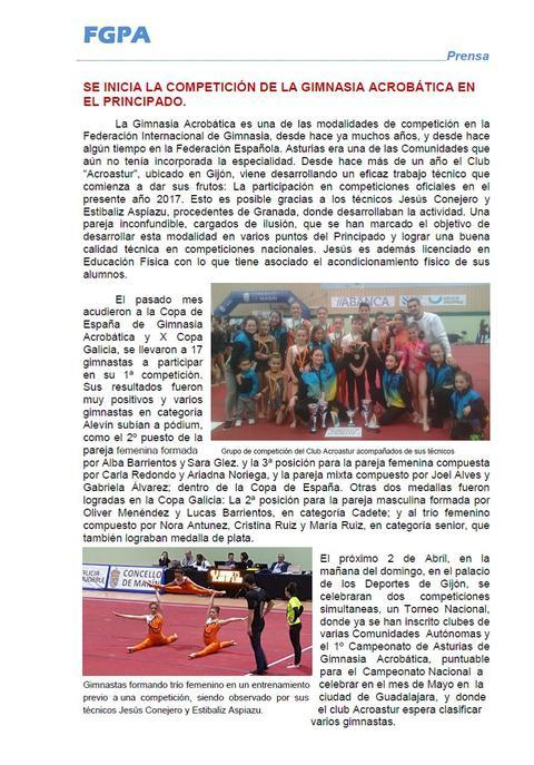Gimnastur - GIMNASIA ACROBATICA EN ASTURIAS 2017 - Federación de Gimnasia del Principado de Asturias