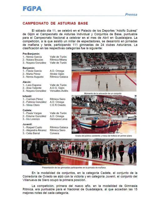Gimnastur - CPTº DE ASTURIAS BASE INDIVIDUAL Y COPA DE ASTURIAS BASE CONJUNTOS GR - Federación de Gimnasia del Principado de Asturias