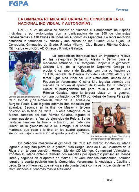 Gimnastur - LA GIMNASIA RITMICA ASTURIANA SE CONSOLIDA EN EL NACIONAL INDIVIDUAL Y AUTONOMIAS - Federación de Gimnasia del Principado de Asturias