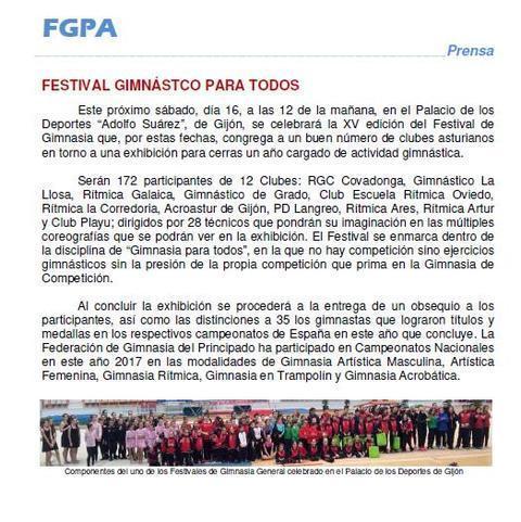 Gimnastur - XV FESTIVAL DE GIMNASIA PARA TODOS - Federación de Gimnasia del Principado de Asturias